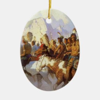 Arte ocidental do vintage, partido indiano da ornamento de cerâmica oval