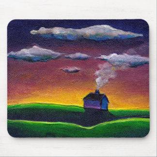 Arte original colorida do ano novo da paisagem da  mouse pad