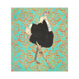 Arte ornamentado das canvas do damasco da avestruz