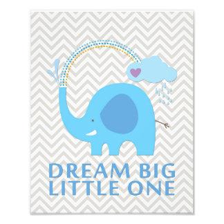 Arte pequena grande ideal do berçário do elefante impressão de foto