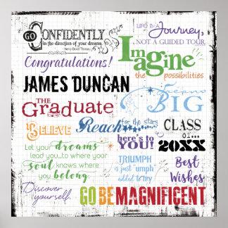 Arte personalizada da palavra da graduação pôster