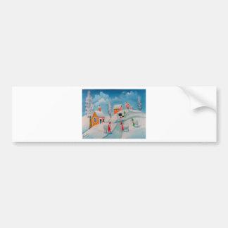 arte popular dos carneiros da cena da neve do adesivo para carro