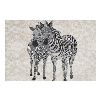 Arte preta & branca de Zeb & de Zenya Impressão