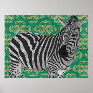 Arte preta & branca do vintage da zebra poster
