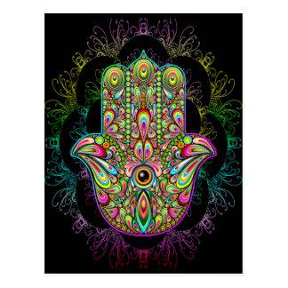 Arte psicadélico da mão de Hamsa Cartão Postal