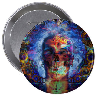 Arte psychodelic do crânio bóton redondo 10.16cm