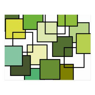 Arte quadrada verde abstrata cartão postal