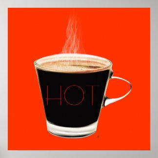 Arte quente do poster do café (vermelha)