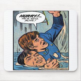 Arte retro da banda desenhada da polícia do kitsch mouse pads