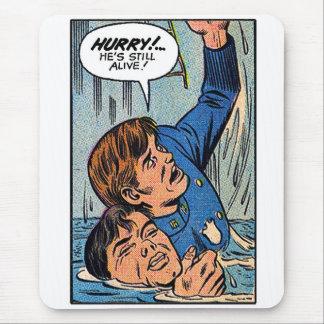 Arte retro da banda desenhada da polícia do kitsch mouse pad