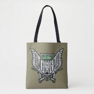 Arte voada bandeira do tatuagem da crista do rick bolsa tote