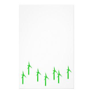 artigos de papelaria das energias eólicas (verde)