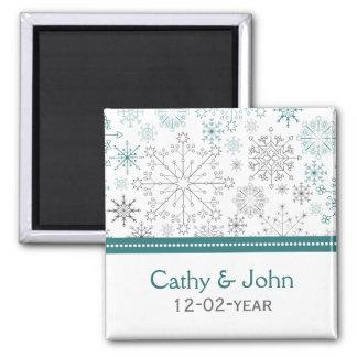 Artigos de papelaria do casamento no inverno dos ímã quadrado