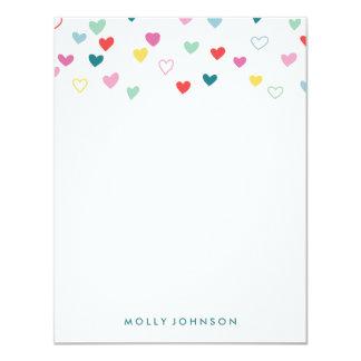 Artigos de papelaria pequenos dos corações - convite 10.79 x 13.97cm