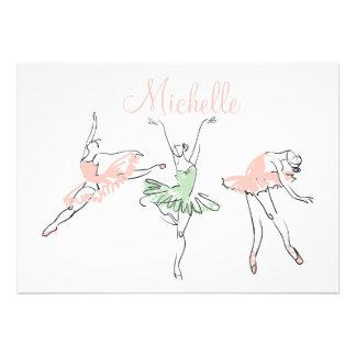 Artigos de papelaria personalizados da bailarina d convite