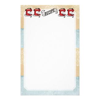 Artigos de papelaria vermelhos retros do cartão da
