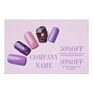 artista roxo do prego do salão de beleza feminino panfleto personalizados