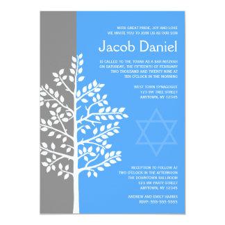 Árvore azul cinzenta de convites de Mitzvah do bar Convite 12.7 X 17.78cm