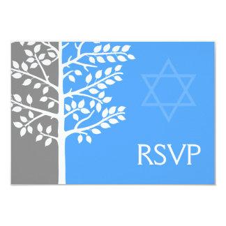 Árvore azul cinzenta do bar Mitzvah RSVP da vida Convite 8.89 X 12.7cm