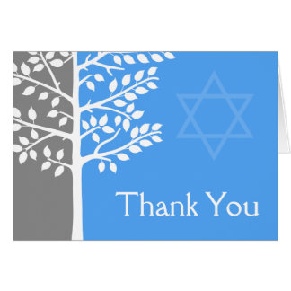 Árvore azul cinzenta do obrigado de Mitzvah do bar Cartão De Nota