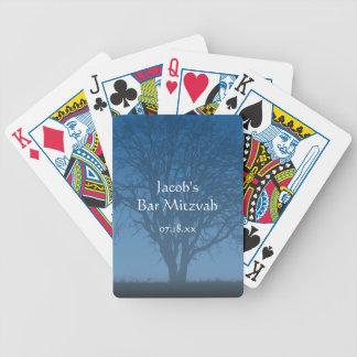 Árvore azul rústica do bar Mitzvah da vida Baralhos De Pôquer