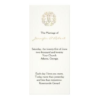 Árvore celta do programa do casamento do ouro da 10.16 x 22.86cm panfleto
