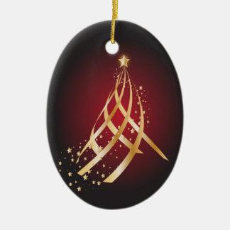 Árvore de fita ornamento de cerâmica oval