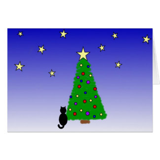 Árvore de gato preto e de Natal Cartão De Nota
