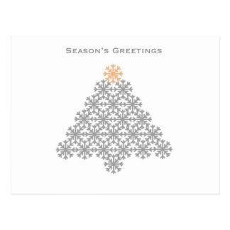 Árvore de Natal cinzenta moderna do floco de neve Cartões Postais