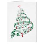 Árvore de Natal com notas da música Cartao