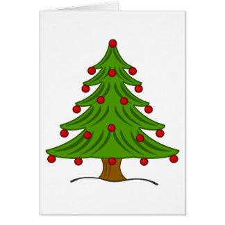 Árvore de Natal com ornamento vermelhos Cartao