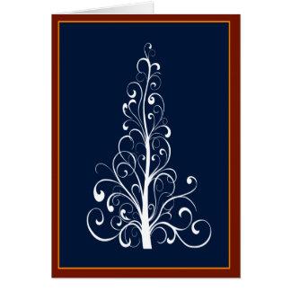 Árvore de Natal de Swirly com cartão da festão