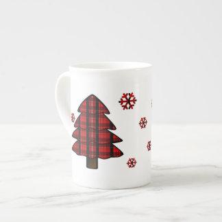 Árvore de Natal do Tartan de Scotland & caneca dos Bone China Mug