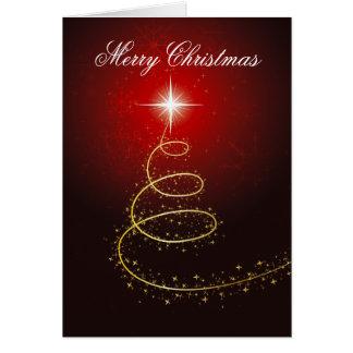Árvore de Natal no cartão vermelho de incandescênc