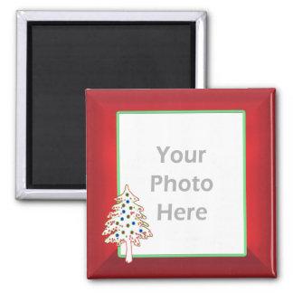 Árvore de Natal no vermelho (quadro da foto) Imã