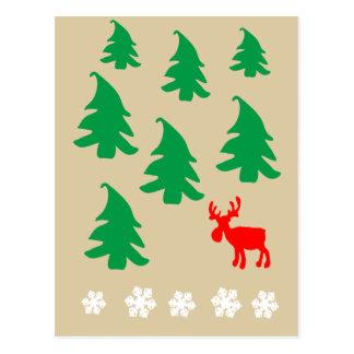 Árvore de Natal, rena, floco de neve Cartão Postal