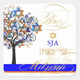 Árvore de PixDezines de vida+estrelas/bar Mitzvah Adesivo Quadrado