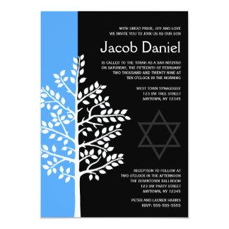 Árvore de preto azul de convites de Mitzvah do bar Convite 12.7 X 17.78cm