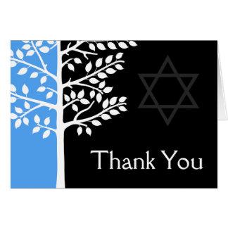 Árvore de preto azul do obrigado de Mitzvah do bar Cartão
