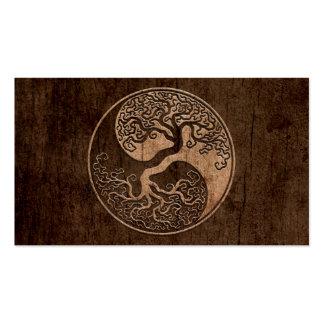 Árvore de vida Yin Yang com efeito de madeira da g Modelos Cartoes De Visita