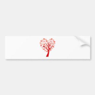 Árvore do coração com os pássaros do amor para o c adesivo para carro
