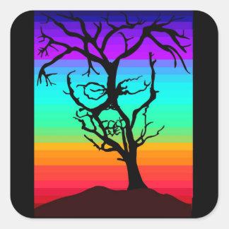 Árvore do crânio adesivo quadrado