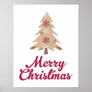 Árvore do Feliz Natal - vermelho - poster Pôster