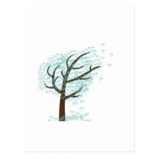 Árvore do floco de neve do inverno cartão postal