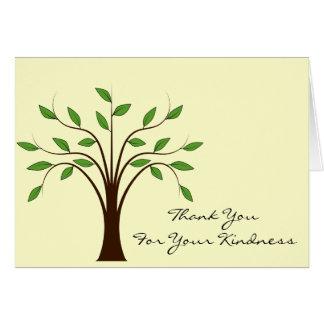 Árvore do obrigado da vida você para sua bondade cartão de nota