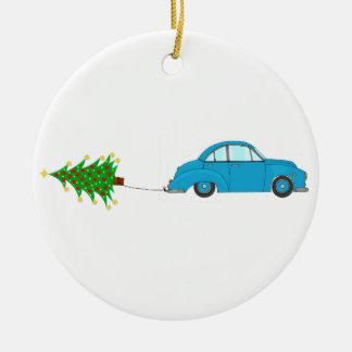 Árvore do reboque do carro do Natal Ornamento De Cerâmica Redondo