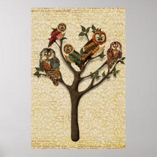 Árvore do vintage do poster da arte das corujas