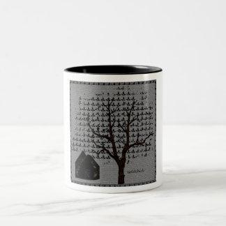 Árvore e casa caneca dois tons