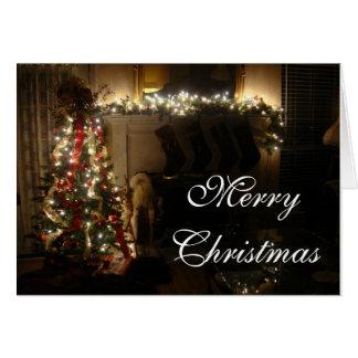 Árvore e lareira do Feliz Natal Cartão Comemorativo