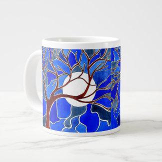 Árvore e lua em canvas - azul jumbo mug